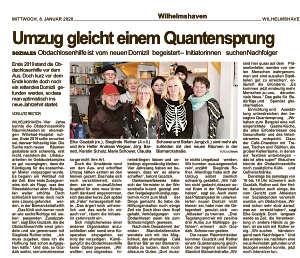 Artikel in der Wilhelmshavener Zeitung vom 08.01.2020