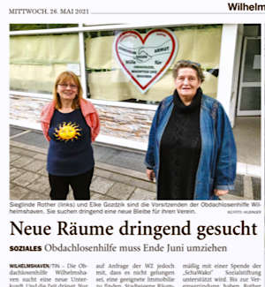Artikel in der Wilhelmshavener Zeitung, 26.05.21