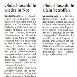 Zwei Artikel in der Wilhelmshavener Zeitung vom 26./27.03.2021