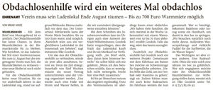 Artikel in der Wilhelmshavener Zeitung 21-07-2021