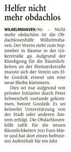 Artikel in der Wilhelmshavener Zeitung vom 09.08.2021